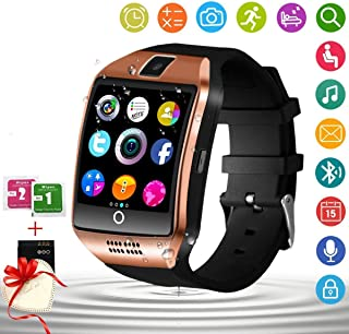 Smart Watch for Android Phones with Camera SIM Card Slot Touch Screen Unlocked Phones Watch Waterproof Smart Watch Fitness Tracker Compatible for Android iOS Smartphones Samsung Huawei for Men Women