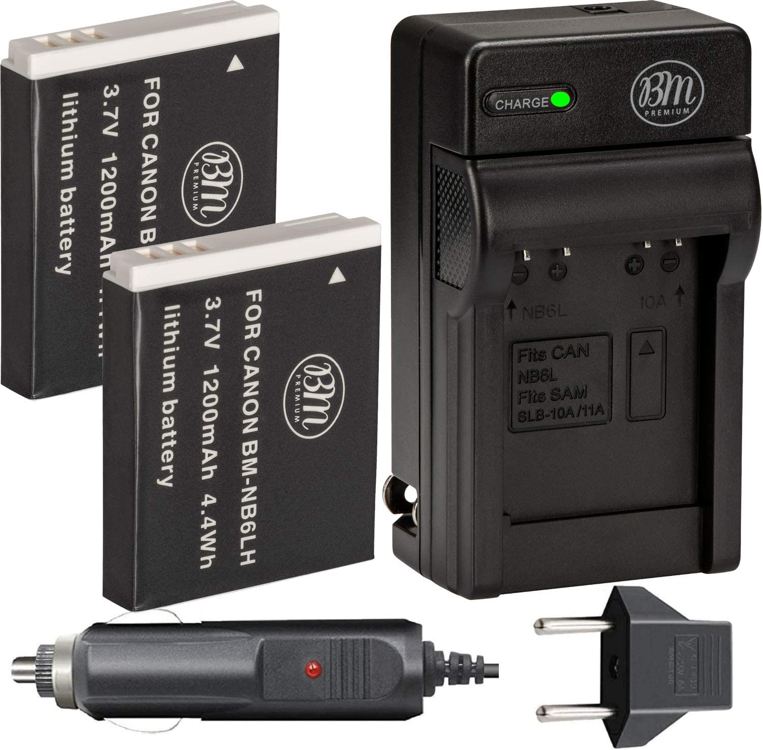 Limited time sale BM Arlington Mall Premium Pack of 2 NB6L K NB-6LH Charger NB-6L And Batteries