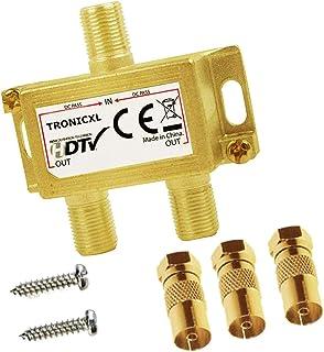 TronicXL Premium - Distribuidor de antena Antenas coaxial HD 3D 4K distribuidor Splitter de Cables F suave para DVBT DVBT2...