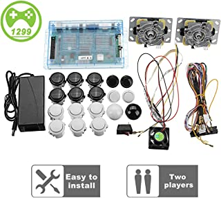 2 Joysticks DIY Kit Bundle Home Family Pandora's Box 5S Arcade Machine 1299 Games Multi-Game Arcade Cabinet DIY Kit Arcade Stick, VGA HDMI Full Set of 2 Players