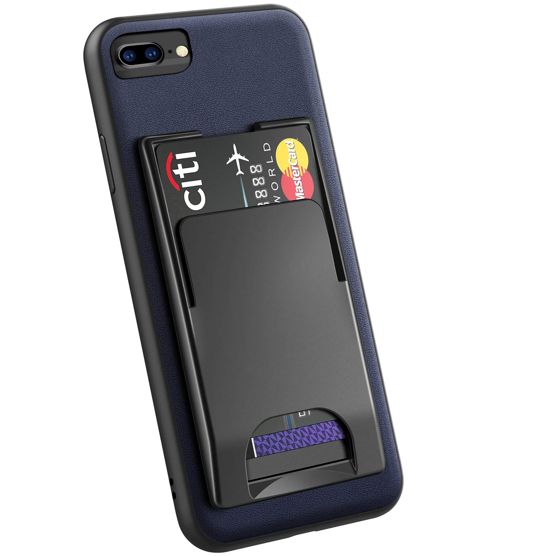 iPhone8 plus / 7 plus / 6 plus / 6s plus ケース 本革 カードホルダー 磁気付き 分離型 定期入れ カード入れ ワイヤレス充電対応 車載ホルダー対応 ケース 取り外し可能 スマートポケット 金属ある場所も付け アイフォン8/7/6/6s プラス 兼用(5.5インチ用 ネイビー)Navy Blue