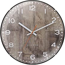 Wall clocks/12-inch/Wooden Style Design/Brown/Decorative Clock/Convex Cover/Wide View/Home Decor/Accurate Movement/Arabic ...