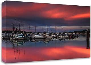 Tangletown Fine Art Ganges Harbor Sunset Print on Canvas, 20 x16, White, Black, Brown