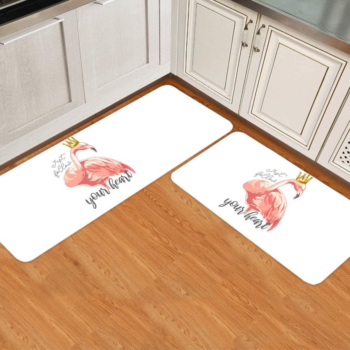 ARTSHOWING Flamingo 2 Pieces Free shipping on posting reviews Set Kitchen Mats free shipping for Sli Non Floor