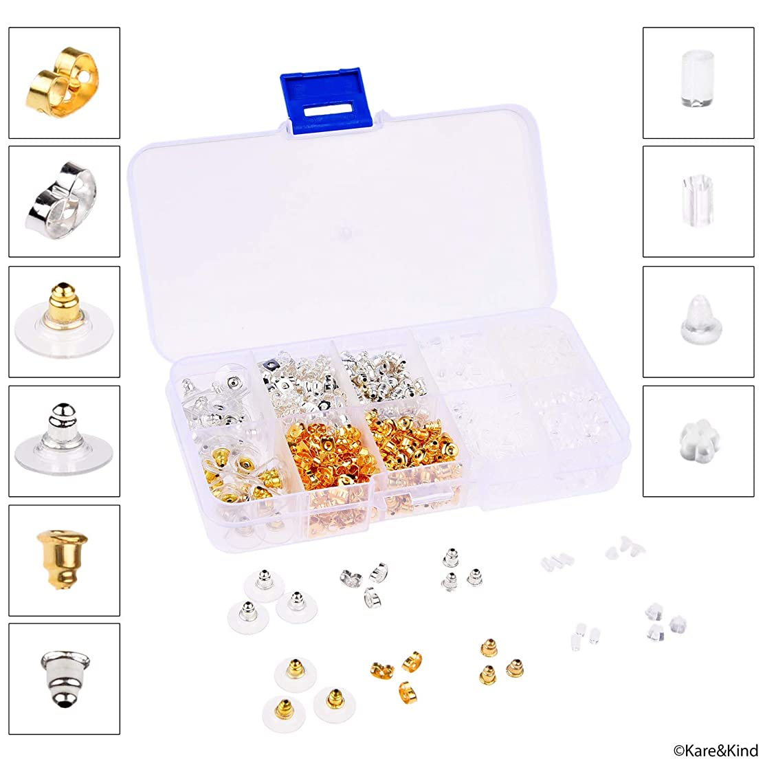Earring Backs - 1400 Pieces - 10 Different Versions - Butterfly, Bullet Clutch, Flat Back Pad, Cylinder, etc. - Gold/Silver Color and Soft Rubber - Fits Straight Ear Studs or Fish Hook Earrings