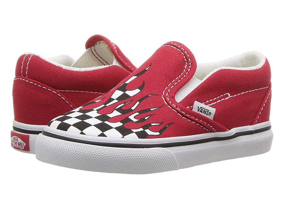 Vans Kids Classic Slip-On (Toddler) ((Checker Flame) Racing Red/True White) Boys Shoes