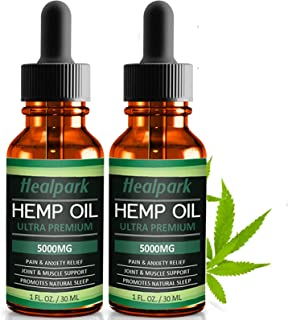 (2 Pack) Hemp Oil 5000mg for Pain Relief Anxiety - 100% Natural Organic Hemp Seed Extract, Rich Omega 3,6,9- Zero THC CBD ...