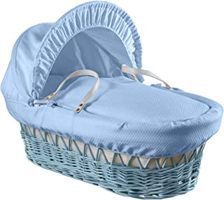 Clair de Lune Cotton Dream Wicker Moses Basket with Rocking Stand, Blue