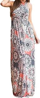 Women's Summer Bohemian Floral Dresses Sleeveless Pockets Racerback Scoop Neck Casual Long Maxi Tank Dress(S-XL)