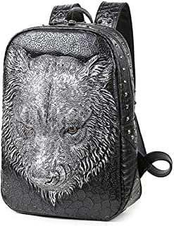 Pu Backpack Portable Backpack 3D Tiger Head Waterproof Outdoor Travel Computer Bag 1,Silver