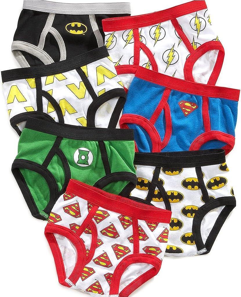 Handcraft Justice League Little Boys' Toddler Briefs, Pack of Seven Batman Superman Flash
