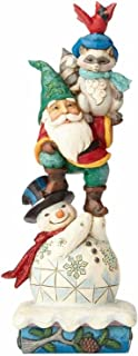 Enesco Jim Shore Heartwood Creek Winter Wonderland Woodland Animals and Snowman Stack Stone Resin, 10