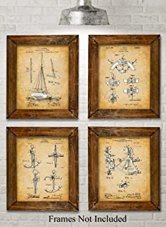 Original Sailing Patent Art Prints - Set of Four Photos (8x10) Unframed - Makes a Great Gift Under $20 for Sailors, Boat Owners or Beach House Decor