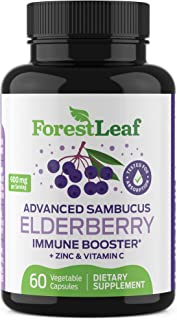 Advanced Sambucus Elderberry Immune Booster with Zinc & Vitamin C - Black Elderberry Fruit Extract Supplement - Immunity S...