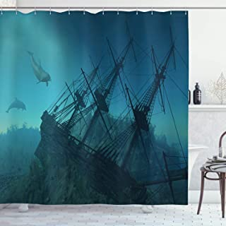 Ambesonne Nautical Shower Curtain, Dolphins Ruined Wreckage Underwater Sunken Ship Mystery Treasure, Cloth Fabric Bathroom Decor Set with Hooks, 75