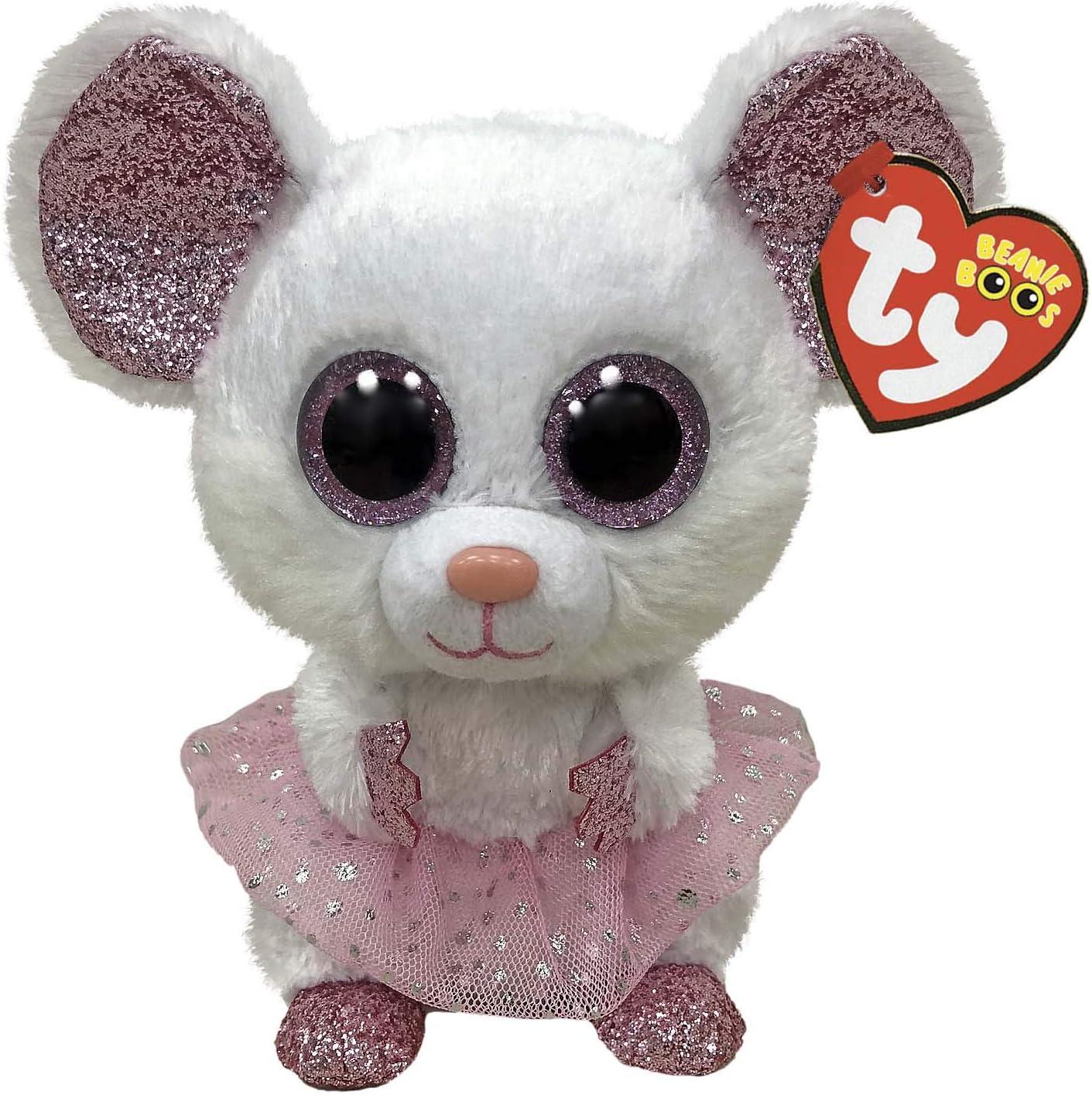 TY 2007519 Nina Mouse with Tutu Beanie Boo Stuffed Animal, Multicoloured