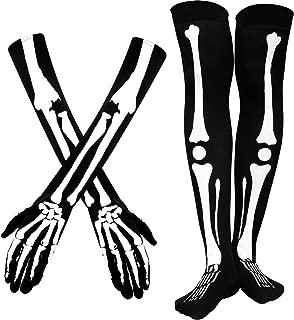 Halloween Skeleton Gloves Spider Web Arm Warmer Over Knee Skeleton Socks Spider Web Stockings for Men Women Halloween Costume (Skeleton)