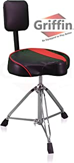 Saddle Drum Throne with Back Rest Support by Griffin | Padded Leather Drummer Seat Motorcycle Style Chair | Swivel Adjustable Height Drum Chair for Adults| Percussion Stool with Double Braced Hardware