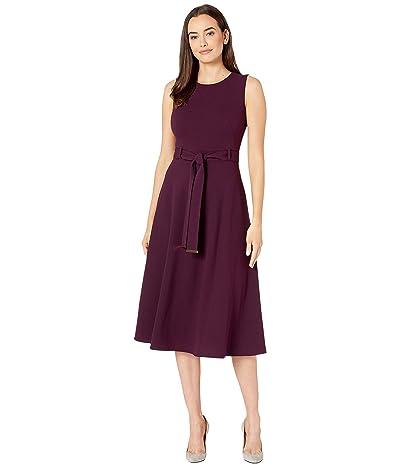 Calvin Klein Belted A-Line Dress (Aubergine) Women