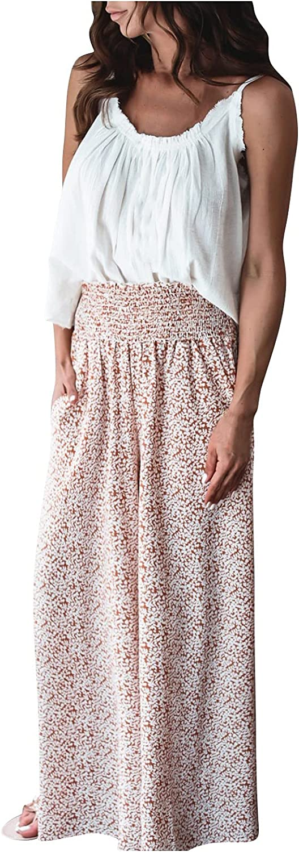 VonVonCo Wide Leg Pants for Women Casual Fshion Printed Vintage Loose Flowy Pants Drape Straight-Leg