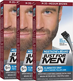 Just For Men Mustache & Beard, Beard Coloring for Gray Hair with Brush Included - Color: Medium Brown, M-35 (Pack of 3)