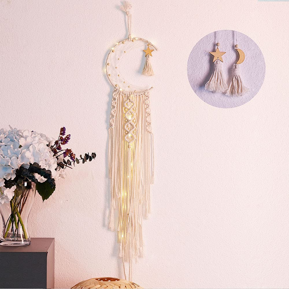 DUOFEI Dream Catcher Wall Decor, Bohemian Room Decor, Boho Chic Moon Dreamcatcher for Bedroom Home Decor with 2 Small Wooden Tassels Pendants Ornaments, 100% Handmade Macrame Cotton Wall Hanging Gift