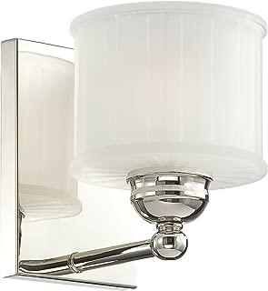 Minka Lavery Wall Sconce Lighting 6731-1-613, 1730 Series Reversible Damp Bath Vanity Fixture, 1LT, 100w, Polished Nickel
