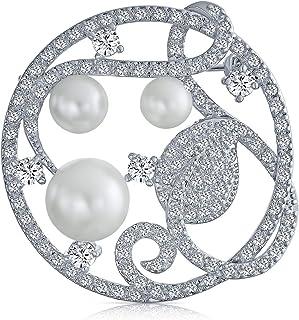 Bling Jewelry Bridal CZ Rotonda Foglia di Turbolenza Moda Bianco Perla Simulata Cerchio Sciarpa Spilla Pin per Donne Rodiata