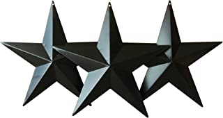 CVHOMEDECO. Country Rustic Antique Vintage Gifts Black Metal Barn Star Wall/Door Decor, 8-Inch, Set of 3.