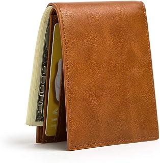 Slim Wallets for Men & Women RFID Blocking Card Holder Front Pocket Wallets with ID Window Credit Card Bifold Wallets (Brown)