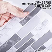 STIQUICK TILES Peel and Stick Tile backsplash - 10 Sheets Premium Block Style 3D Wall for Kitchen and Bathroom in Polito Grey