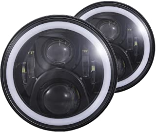 H6024 7 inches Black Led Daymaker Headlight with White Halo and Amber Turn Signal fit for Wrangler JK LJ TJ CJ Hummber H1 H2 Land Rover Defender and More, Pack of 2