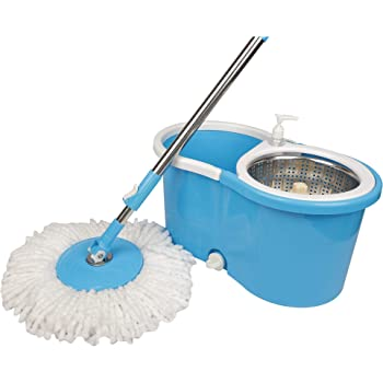 TREQA Maharaja S315 Stainless Steel Spinner 360 Degree Rotating E-Elite Spin Mop with 4 Wheels and Water Outlet, Liquid Dispenser with 2 Microfiber Refills - (Blue)