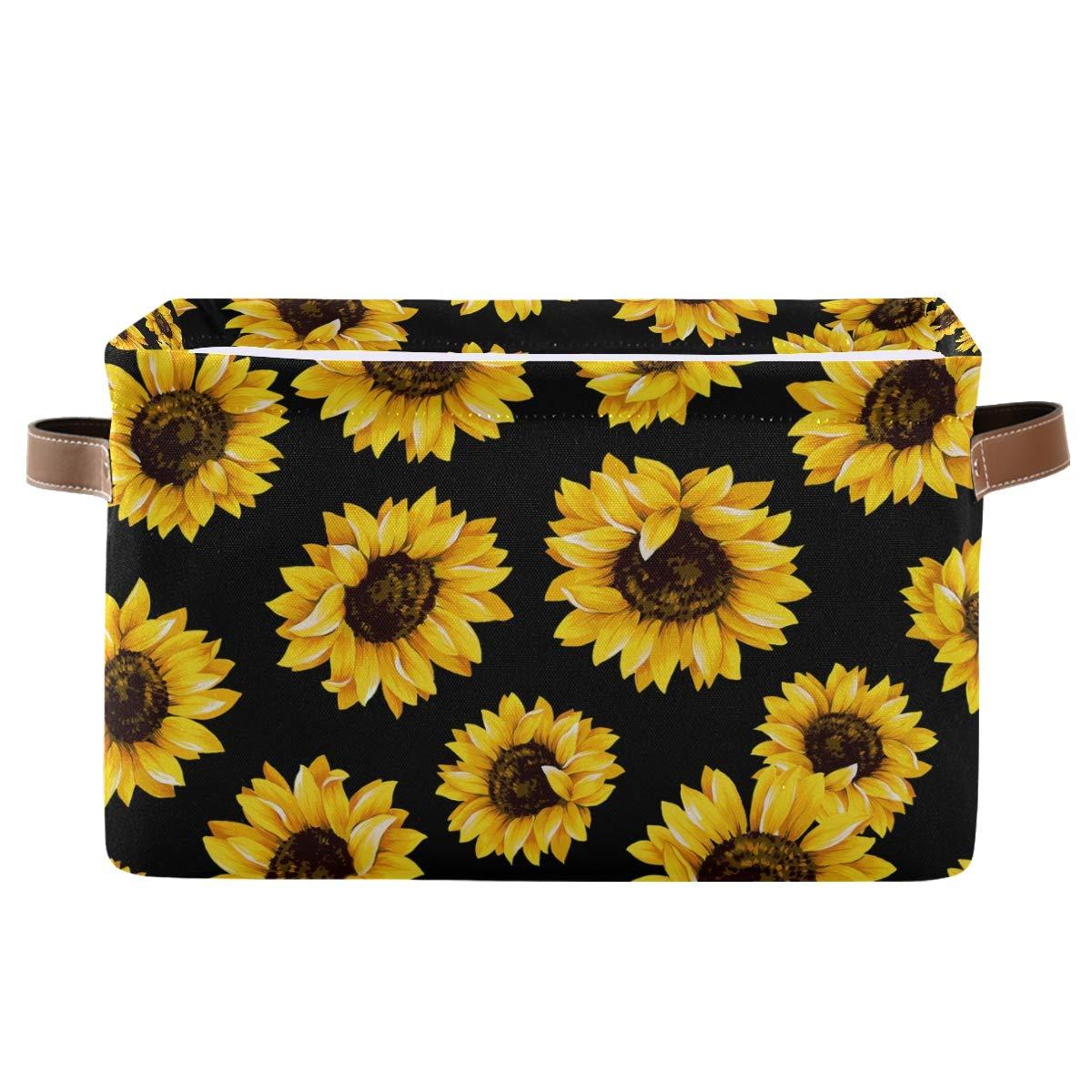 Rectangular Storage Bin Outstanding Beautiful with Sunflowers Handles Basket wholesale
