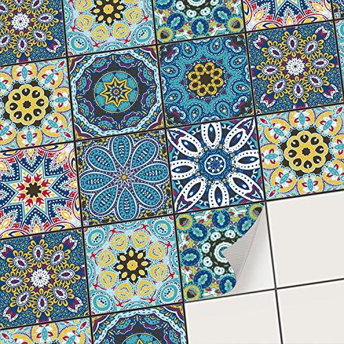creatisto Fliesenfolie Fliesenaufkleber Mosaikfliesen - Hochwertige Sticker Aufkleber für Wandfliesen I Stickerfliesen - Mosaikfliesen für Küche, Bad, WC Bordüre (15x15 cm I 18 -Teilig)