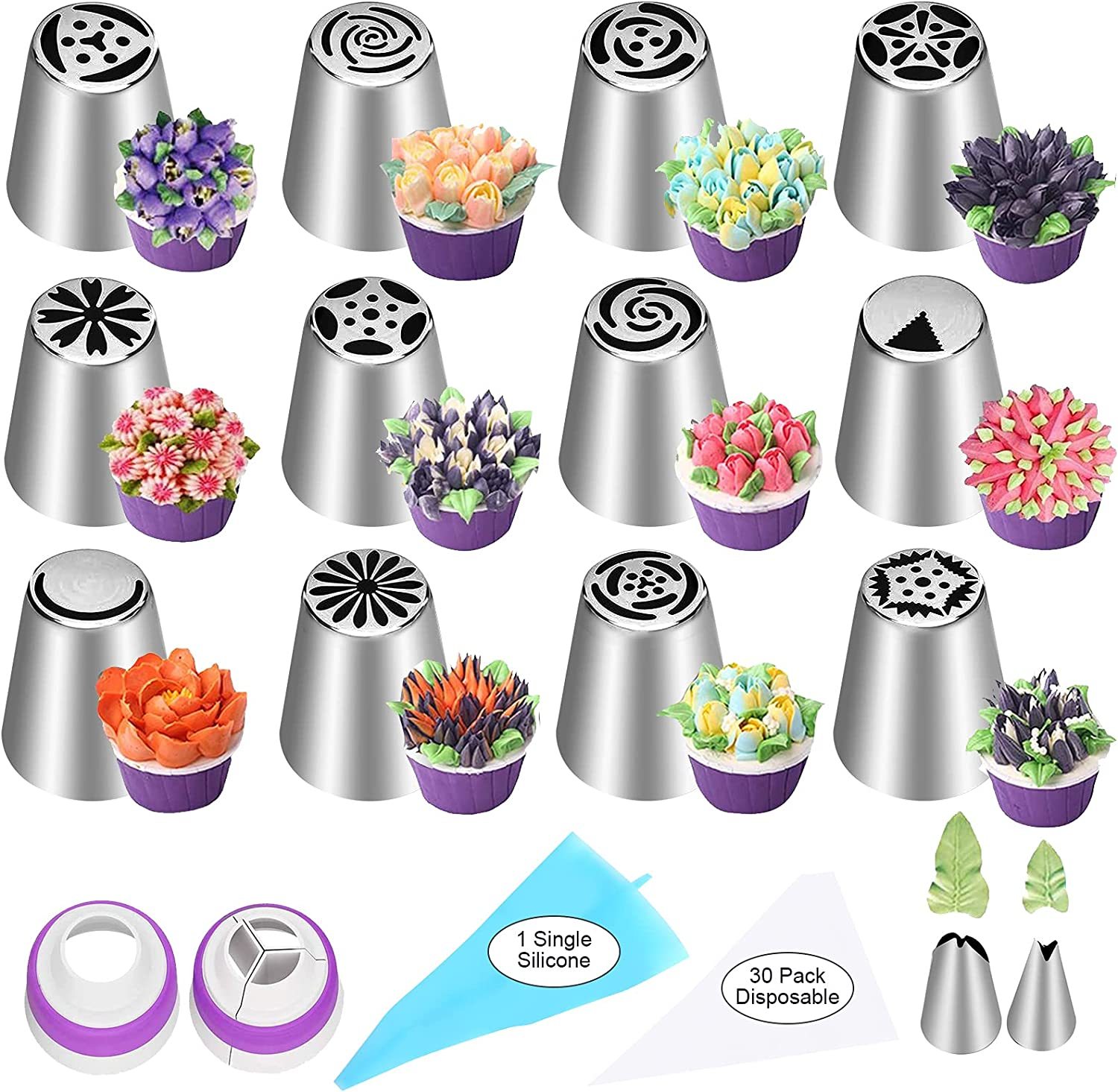 YLYL 47 Pcs Russian Ranking TOP5 Piping Tips Frosting Flower Noz 12 Set mart