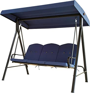 LOKATSE HOME 3-Seats Patio Swing with Adjustable Canopy Weather Resistant Steel Frame Outdoor Porch Converting Deck Furniture