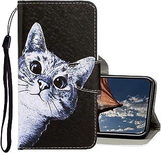 Hermosos Casos y Cubiertas For iPhone XS Max 3D dibujo coloreadas de la PU del tirón Horizontal Funda de cuero con soporte y ranuras for tarjetas y monedero Para Iphone ( Patrón : Curious cat )