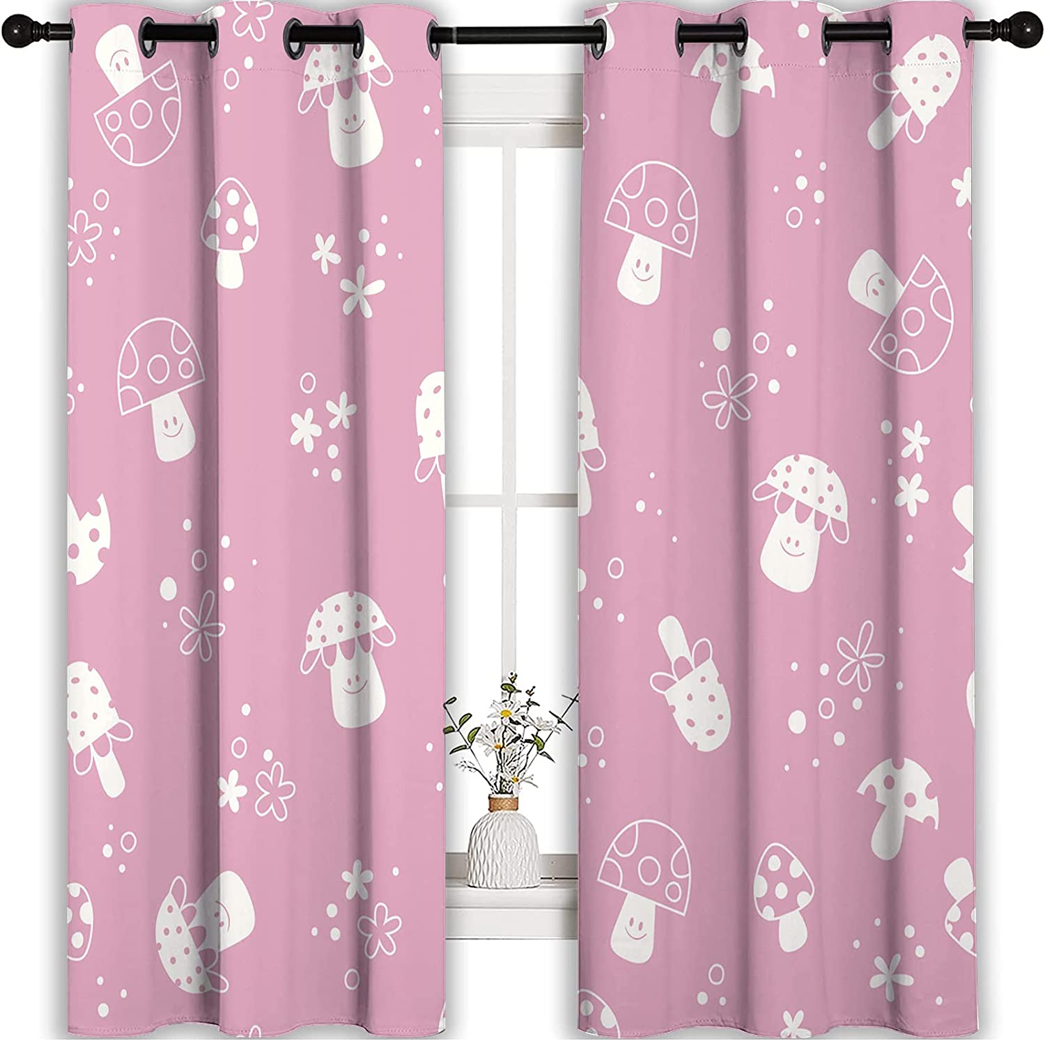 HSERNED Kids Room Window Long-awaited Popularity Curtains P Nature and Mushrooms Flowers