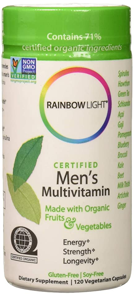 Rainbow Light - Certified Men's Multivitamin - Certified Organic, Provides Probiotic and Antioxidant Support, Supports Energy, Liver Health, and Digestion in Men; Gluten-Free 120 Count