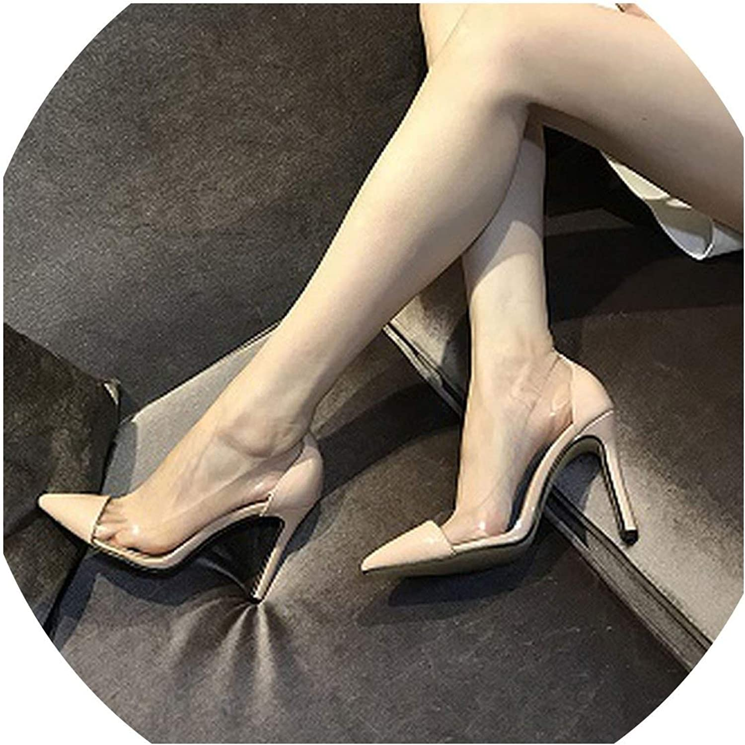Pleasantlyday Transparent High Heels Shallow Leather Women's shoes