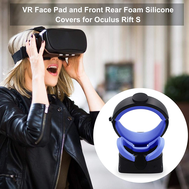 VR Accessories Juego De Funda De Silicona De Espuma Para Oculus Rift S VR Face Silicone Cover Para Oculus Rift S Headset Sweatproof Impermeable Anti-sucio Reemplazo De Almohadillas Faciales