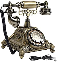 $69 » Nachar Traditional Retro Phone, Copper Wired Old Fashioned Landline Telephones Antique Telephone Rotary Dial with Push But...