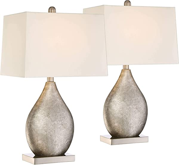 Royce Modern Table Lamps Set Of 2 Silver Metal Teardrop Off White Rectangular Shade For Living Room Family Bedroom Bedside 360 Lighting