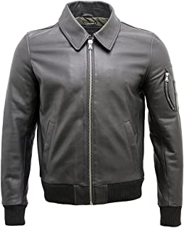 Infinity Men's A2 Black Cowhide Analine Leather Bomber Jacket
