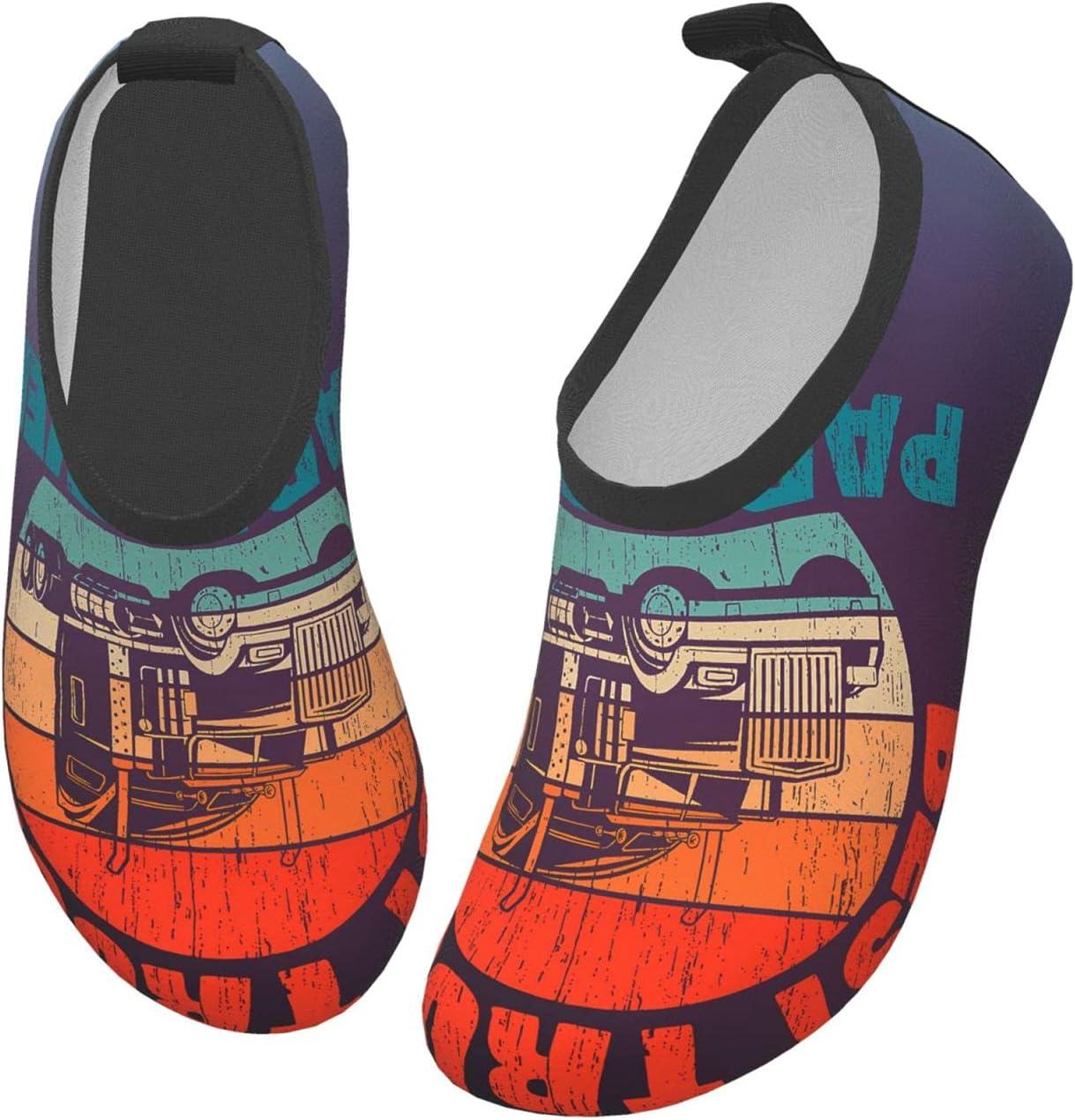 wobzfrok Best Truckin Papa Ever Kids Water Shoes Girls Boys Toddler Non-Slip Quick Dry Aqua Socks for Beach Swim Walking 24/25