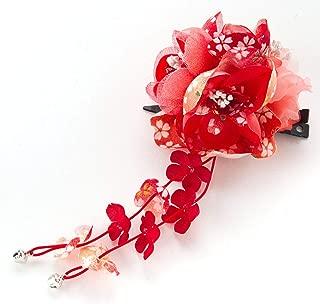 [ミッシュキッシュ]髪飾り ヘアアクセサリー 小花3輪下がりがかわいい和風コサージュ 17373