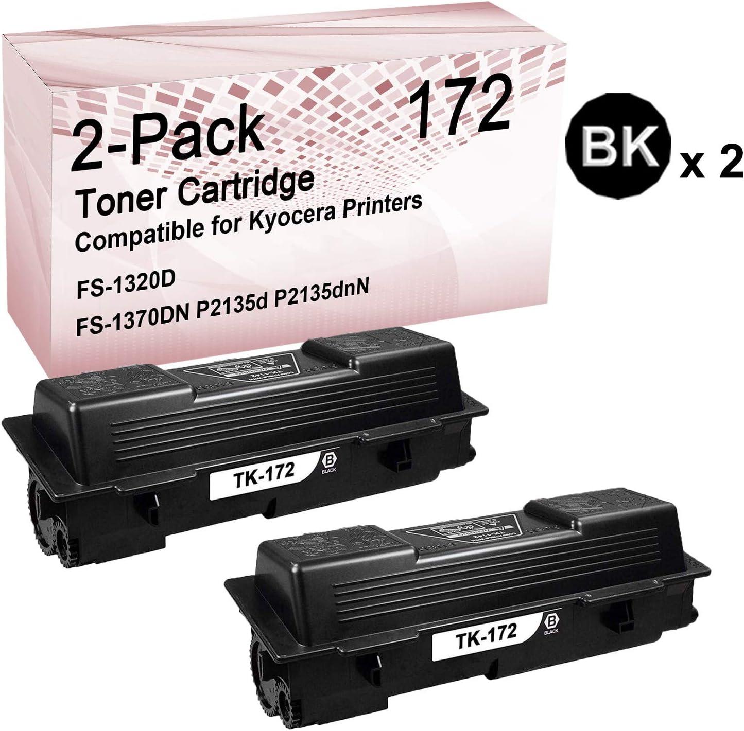 2-Pack (Black) Compatible High Yield 172 Imaging Toner Cartridge use for Kyocera Laser P2135d P2135dnN Printer