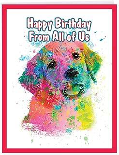 The Best Card Company, Funky Rainbow Dogs - Jumbo Group Birthday Card (8.5 x 11 Inch) - Golden Retriever Puppy, Friend Car...