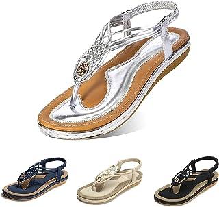 Camfosy Sandales Femmes Plates, Chaussures Été Tongs à Talons Plats Claquettes Nu Pieds Semelle Compensée Confortable Bout...